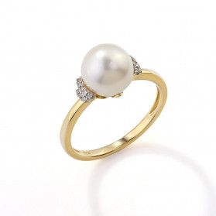 Pierścionek perła b+bryl.0,06ct AW 36880 Y perła Laurel próba 585