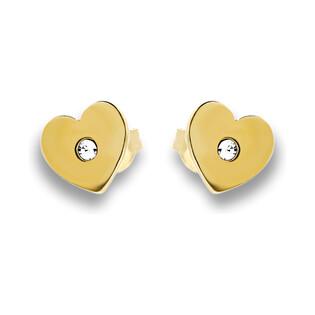Kolczyki srebrne pozłacane w kształcie serca nr SZ SG-001-KS-Z serce próba 925