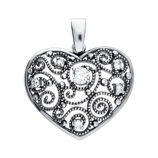 Zawieszka srebrna wypukłe ażurowe serce nr SZ081 próba 925