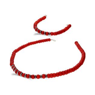 Komplet biuterii z koralem czerwony i hematytem nr EM01 próba 925