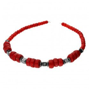 Naszyjnik z koralem czerwony i hematytem nr EM06 próba 925