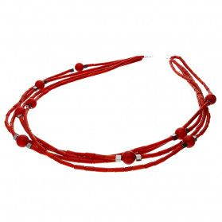 Naszyjnik kulki z koralem czerwony i hematytem w czterech rzędach nr EM07 próba 925