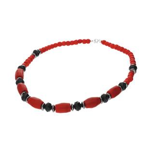 Naszyjnik z koralem czerwony i hematytem nr EM10 próba 925