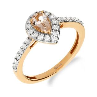 Pierścionek zaręczynowy z diamentem i morganitem nr JRI-988-MO kropla Markiza bis próba 375