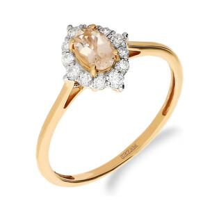 Pierścionek zaręczynowy z diamentem i morganiem nr NF JRI-986-MO łezka Markiza próba 375