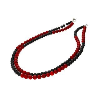 Naszyjnik z koralem czerwonym i onyksem na dwóch sznurach nr EM08 próba 925