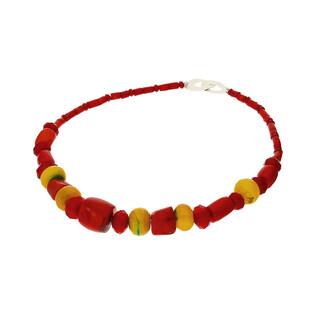 Naszyjnik z koralem czerwonym i żółtym agatem nr EM09 próba 925