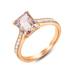 Pierścionek zaręczynowy z diamentem i morganitem nr AW 75834 R prostokąt próba 585