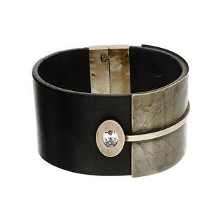 Bransoleta damska skórzana z dodatkiem srebrnego paska i cyrkonią