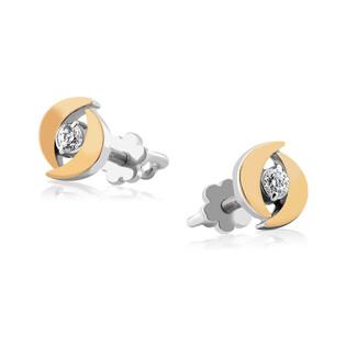 Kolczyki srebrne z złotą blaszką i cyrokonią DC 401_AU375 blaszka rose
