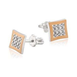 Kolczyki srebrne z złotą blaszką w kształcie kwadratu z cyrkoniami DC 568_AU375 blaszka rose