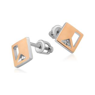 Kolczyki srebrne ze złotą blaszką w kształcie kwadratu z cyrkonią DC 669_AU375 blaszka rose