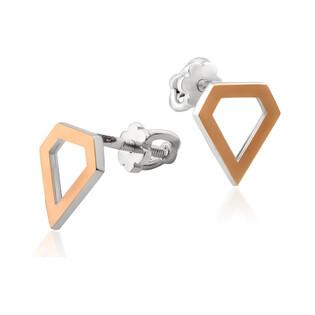 Kolczyki srebrne ze złotą blaszką w kształcie diamentu DC 549_AU375 blaszka rose