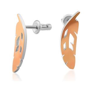 Kolczyki srebrne ze złotą blaszką w kształcie ażurowego piórka DC 673_AU375 blaszka rose