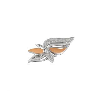 Broszka srebrna ze złotą blaszką w kształcie kwiatu DC 502_AU375 blaszka rose