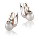 Kolczyki srebrne ze złotą blaszką i białą perłą DC 275_AU375 blaszka rose