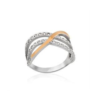 Pierścionek srebrny ze złotą blaszką w kształcie fali zdobionej cyrkoniami DC 017_AU375