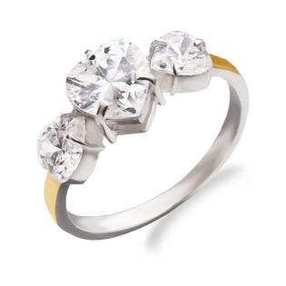 Pierścionek srebrny z cyrkoniami w kształcie serca i złotą blaszką DC 261_AU375 blaszka rose