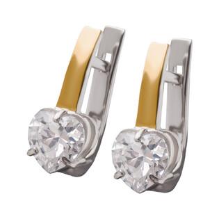 Kolczyki srebrne z cyrkonią w kształcie serca i złotą blaszką DC 261_AU375 blaszka rose