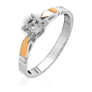 Pierścionek srebrny z cyrkonią i złotą blaszką 110_AU375 blaszka rose