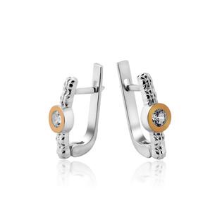 Kolczyki srebrne z cyrkonią w gładkiej oprawie i złotą blaszką DC 457_AU375 blaszka rose