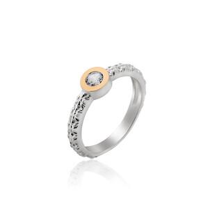 Pierścionek srebrny z cyrkonią w gładkiej oprawie i złotą blaszką DC 457_AU375 blaszka rose