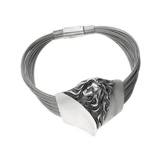 Bransoleta srebrne z twarzą kobiety na stalowych linkach nr AG ARTIS