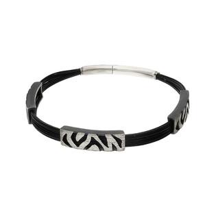 Bransoleta srebrna z zebrą i czarnymi linkami nylonowymi nr AG ARTIS A.Głodowski 271 próba 925