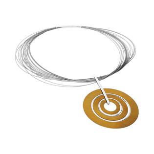 Naszyjnik z tytanową zawieszką w kształcie kręgów na stalowych linkach AG ARTIS A.Głodowski 422 próba 925