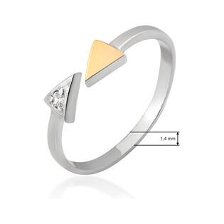 Pierścionek srebrny otwarty ze złotą strzałką DC 604_AU375 blaszka rose