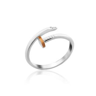 Pierścionek srebrny otwarty gwóźdź z dodatkiem złota DC 384_AU375 blaszka rose