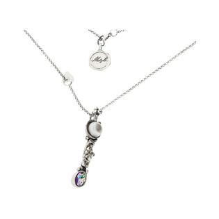 Naszyjnik srebrny topaz mystic z perłą szarą MY M2374 MOTYLE próba 925