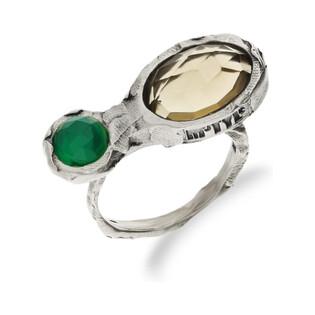 Pierścionek srebrny z kwarcem miodowym i agatem zielonym MY M5413 MOTYLE próba 925 Sezam - 1
