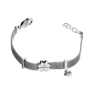 Bransoleta srebrna MESH z koniczynką i sercem PW 307 próba 925