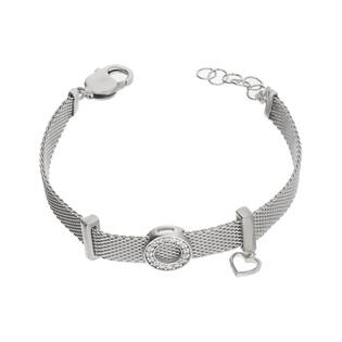 Bransoleta srebrna MESH z kółkiem i sercem PW 309 próba 925