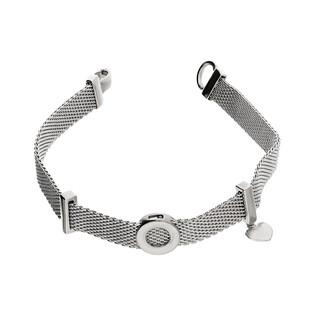 Bransoleta srebrna MESH z kółkiem i sercem PW 309-1 próba 925