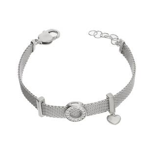 Bransoleta srebrna MESH z kółkiem i sercem PW 309-2 próba 925
