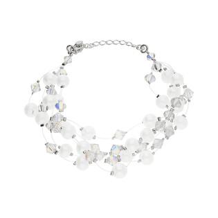 Bransoleta srebrna GRACE z kryształami Swarovskiego i perłami RD 3 383-1 perła próba 925