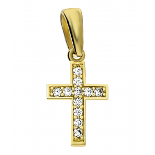 Krzyżyk złoty z cyrkoniami nr MZ P55-CZ próba 585 Sezam - 1