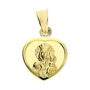 Medalik złoty Matka Boska Częstochowska z Dzieciątkiem w sercu DJ103 próba 585