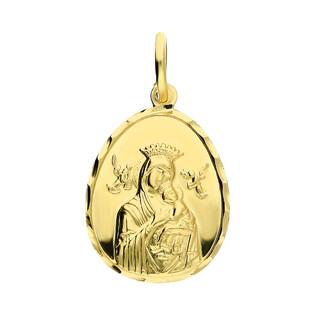Medalik złoty Matka Boska Nieustającej Pomocy z Dzieciątkiem DJ112 próba 585