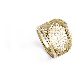 Pierścionek złoty blaszka ażur róże-szeroki nr AR X3LKR0099-FL próba 333 Sezam - 1
