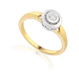 Złoty pierścionek zaręczynowy z diamentem typu JUBILE AW 48325 YW próba 585 Sezam - 1