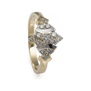 Pierścionek złote z cyrkoniami nr FU 1433 próba 585 Sezam - 1