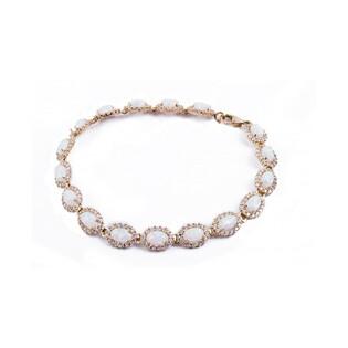 Bransoleta opal biały owal+cyrkonie próba 585 Sezam - 1