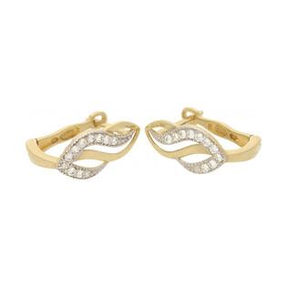 Kolczyki złote fala z cyrkoniami , angielskie zapiecie nr MZ T5-E-BB23-CZ próba 585 Sezam - 1