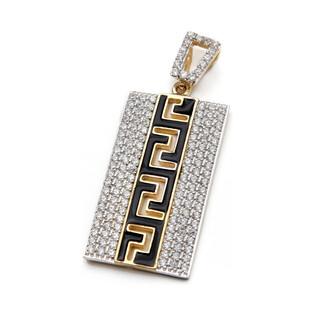 Zawieszka złota z emalią i greckim meandrem nr LB 9255 próba 585 Sezam - 1