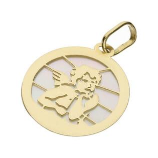 Medalik złoty z Aniołkiem na masie perłowej nr OS 204-PF23-30 próba 585 Sezam - 1