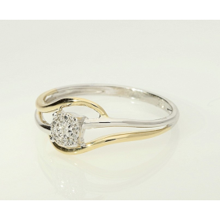 Ażurowy pierścionek zaręczynowy LEMON Magic z diamentem AW 59077 YW próba 585 Sezam - 1