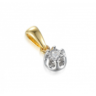 Zawieszka z diamentem Flower nr AW 55114 YW złoto 14 karat Sezam - 1